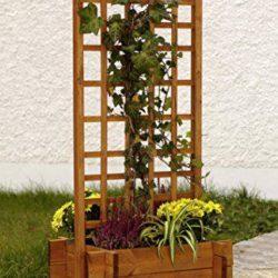 celosías de madera con jardinera